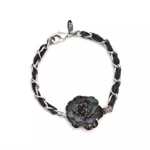 Chanel Black Camilla Flower Chain Bracelet